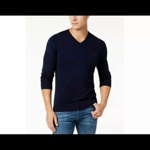 Mens MK  pullover cotton v-neck sweater Blue
